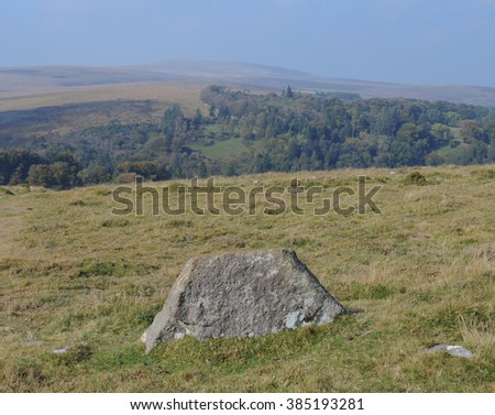 Round Pound, an Ancient Settlement, on Chagford Common, near the Rural Market Town of Chagford, within Dartmoor National Park, Devon, England, UK - stock photo