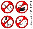 round prohibiting signs. The ban on alcohol, smoking, exhaust gases and drinks - stock vector
