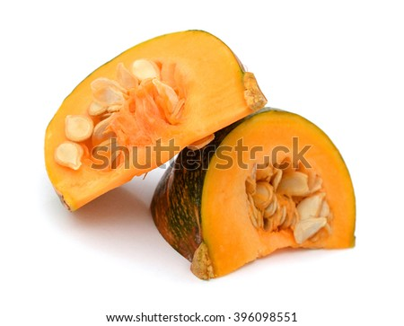 Round pumpkin with green leaves isolated on white background - stock photo