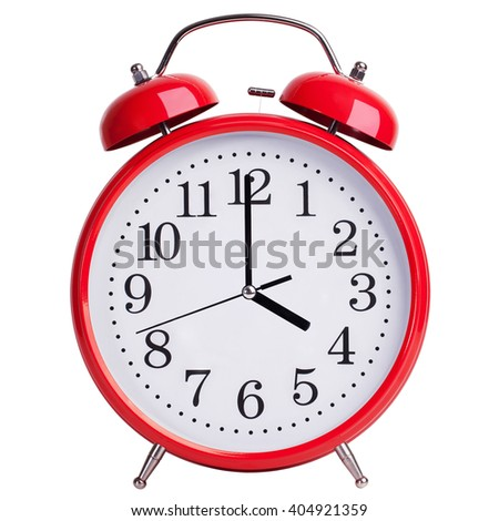 Round red alarm clock shows exactly four - stock photo