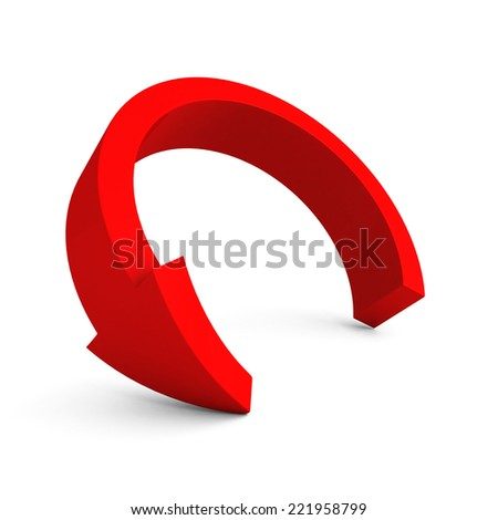 round red arrow on white background. 3d render illustration - stock photo