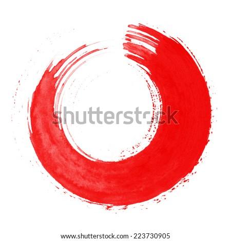 Round red brush stroke - stock photo