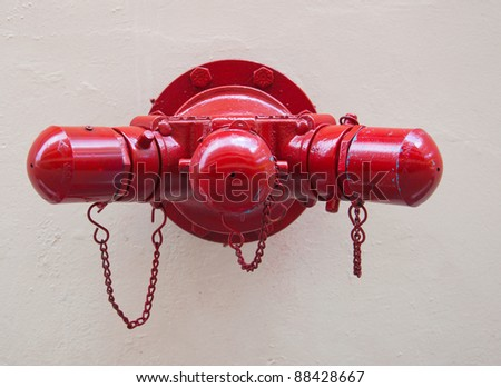 Round red fire sprinkler - stock photo