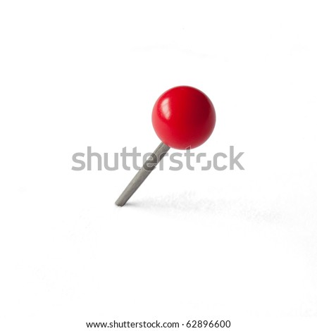 Round Red Pushpin isolated on white, clipping path included - stock photo
