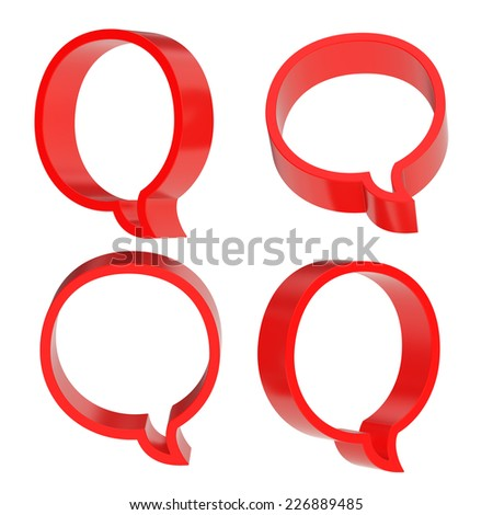 Round red text bubble dimensional shapes isolated over the white background, set of four foreshortenings - stock photo