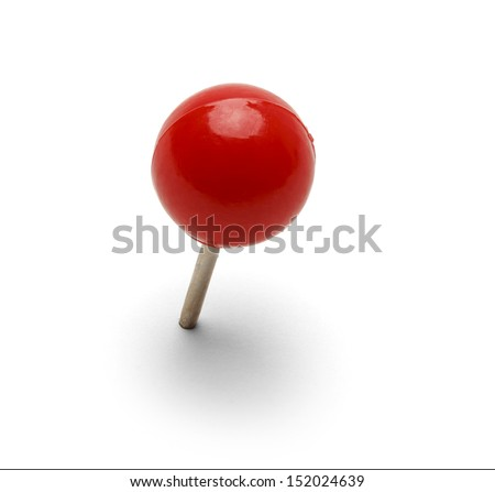 Round Red Thumb Tack Pushpin Isolated On White Background. - stock photo