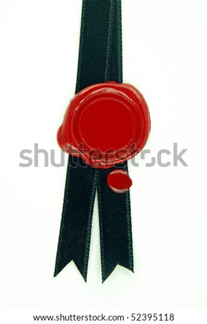 round red wax seal on black ribbon - stock photo