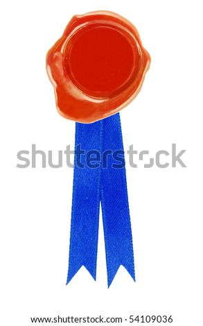round red wax seal with a blue ribbon - stock photo