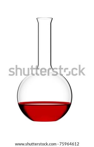 Round retort on glowing white background - stock photo