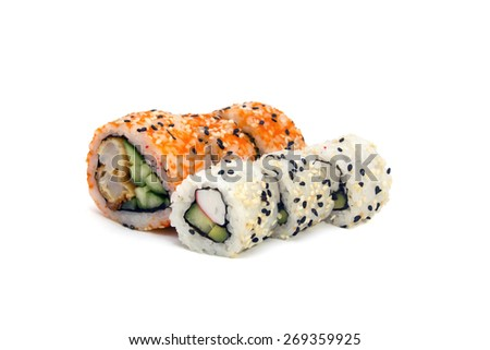 round rolls with cucumber and crab horizontally isolated over white - stock photo