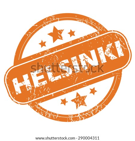 Round rubber stamp with city name Helsinki and stars, isolated on white - stock photo