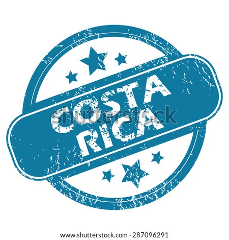 Round rubber stamp with words COSTA RICA and stars, isolated on white