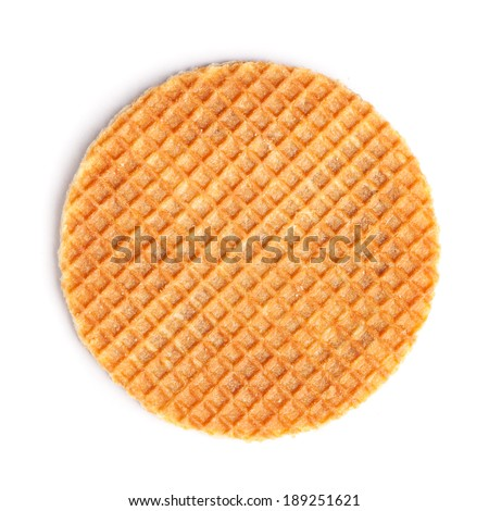 Round ruddy waffle isolated on white background - stock photo