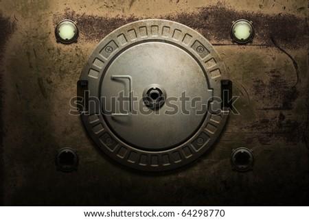 Round rusted metal door - stock photo