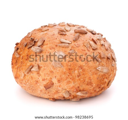 Round sandwich bun with sunflower seeds isolated on white background - stock photo