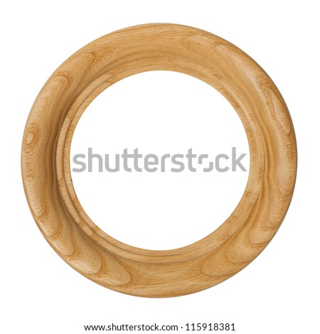 round seamless wooden picture frame isolated on white background - stock photo