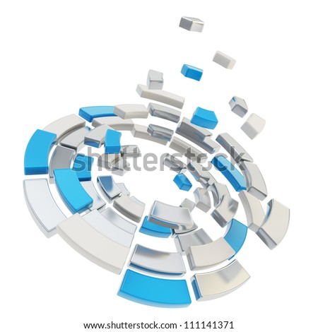 Round segmented into chrome metal and blue pieces circle composition defragmentation icon emblem isolated on white as abstract background