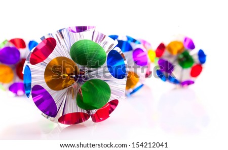 Round shape Christmas decoration made from the multicolored foil