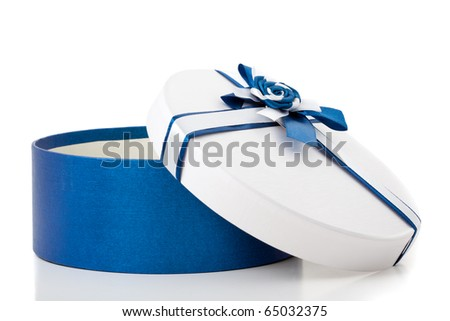 Round shape gift box with blue ribbon and bow isolated. Open. - stock photo