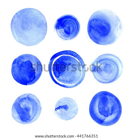 round shapes on white background. Hand drawn watercolor blue stains set.