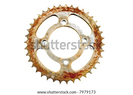 round sharp jagged edged rusted bicycle gear