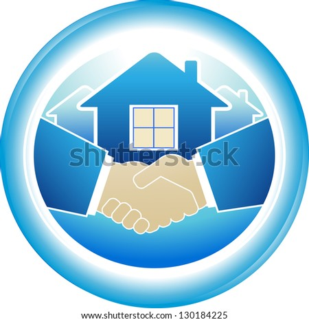 round sign of business handshake in blue frame - stock photo