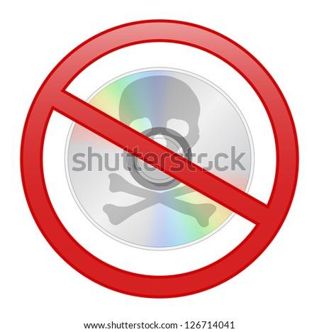 Round sign prohibiting piracy, isolated on white background - stock photo