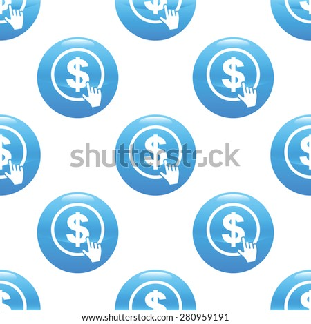 Round sign with cursor clicking on dollar emblem, repeated on white background - stock photo