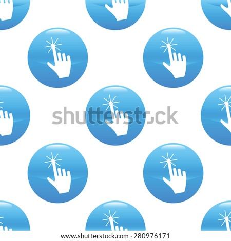 Round sign with hand cursor image repeated on white background - stock photo