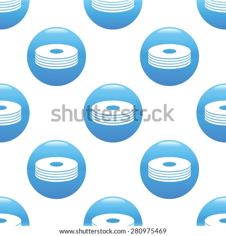 Round sign with pile of discs repeated on white background - stock photo