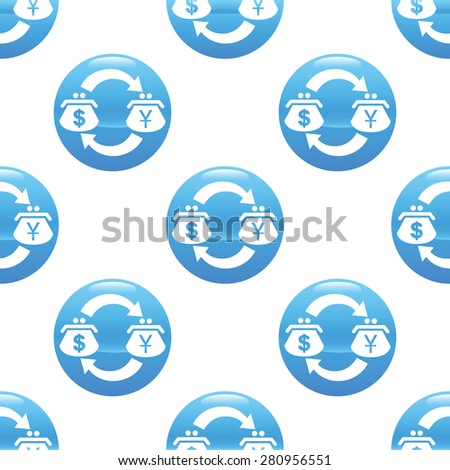 Round sign with purses, dollar and yen symbols, repeated on white background - stock photo