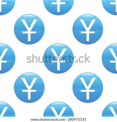 Round sign with yen symbol repeated on white background - stock photo