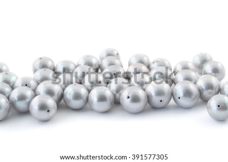 round silver pearls isolated beads on white
