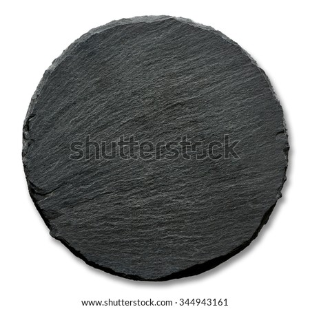 Round slate stand isolated on a white background - stock photo