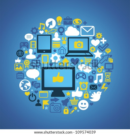Round social media concept -raster  illustration with technology icons - stock photo