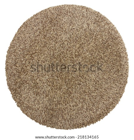 Round soft shaggy carpet - stock photo