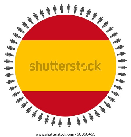Round Spanish flag with circle of people illustration JPEG