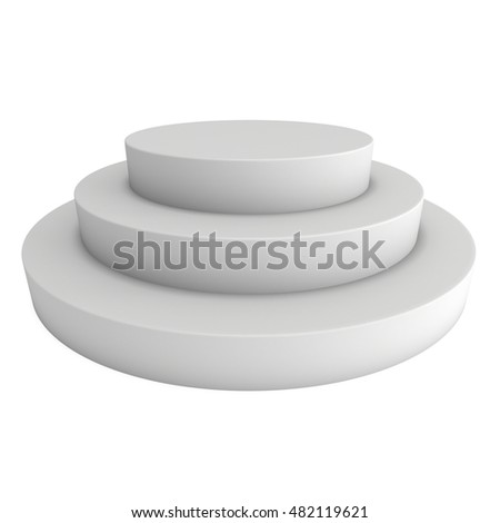 Round stage blank podium for award ceremony. 3D render illustration pedestal isolated on white background