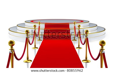 Round stage with red carpet - stock photo