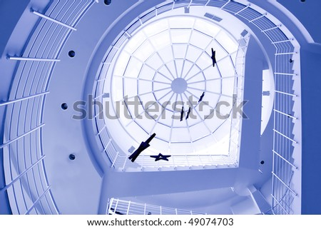 round staircase in office centre - stock photo