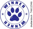 Round stamp with the paw and inscription - winner - stock
