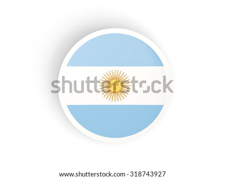Round sticker with flag of argentina isolated on white