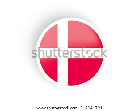 Round sticker with flag of denmark isolated on white