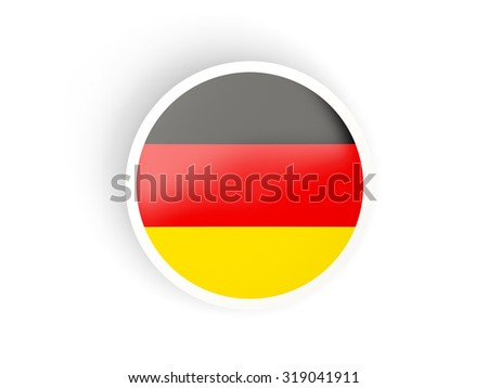 Round sticker with flag of germany isolated on white - stock photo
