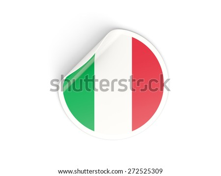 Round sticker with flag of italy isolated on white - stock photo