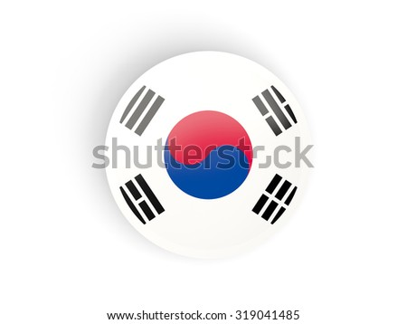 Round sticker with flag of korea south isolated on white - stock photo