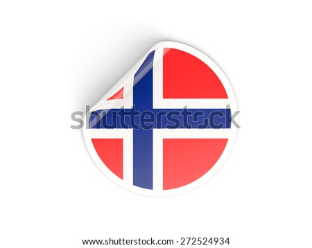 Round sticker with flag of norway isolated on white