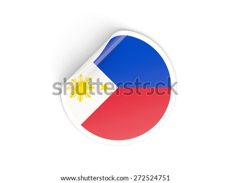 Round sticker with flag of philippines isolated on white - stock photo