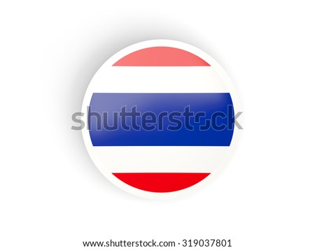 Round sticker with flag of thailand isolated on white - stock photo