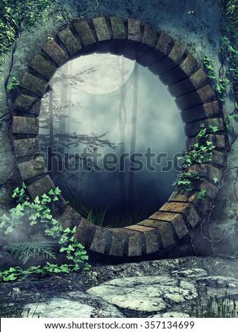 Round stone gate in a gothic garden at night - stock photo